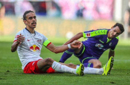 LEIPZIG, GERMANY – MAY 16:  Yussuf Poulsen of RB Leipzig reacts during the Bundesliga match between RB Leipzig and Sport-Club Freiburg at Red Bull Arena on May 16, 2020 in Leipzig, Germany. The Bundesliga and Second Bundesliga is the first professional league to resume the season after the nationwide lockdown due to the ongoing Coronavirus (COVID-19) pandemic. All matches until the end of the season will be played behind closed doors. (Photo by Jan Woitas/Pool via Getty Images)
